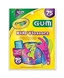 Sunstar 897RZ GUM Crayola Kids' Flosser, 75 Count, Grape Flavor