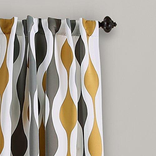 Geometric Gold Gray Curtains