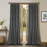 108 Inches Gray Velvet Drapes - Thick Soft Velvet Blackout Curtains Energy Smart Thermal Insulated Large Window Panels for Office/Villa, 52' x 108' Each Panel, 2 Pieces