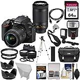 Nikon D3500 Digital SLR Camera & 18-55mm VR & 70-300mm DX AF-P Lenses with 64GB Card + Case + Flash + Tripod + LED Light + 2 Lens Kit