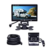 """Camecho Vehicle Backup Camera 7"""" TFT Monitor,18 IR Night Vision Rear View Camera Without Gride Line IP 68 Waterproof, 4 Pins Aviation Extension Cable For 33FT Length RVs, Bus, Trailer,Truck"""