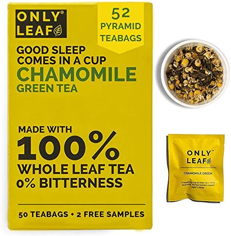 ONLYLEAF Chamomile Green Tea For Stress Relief & Good Sleep, Made with 100% Whole Leaf & Natural Chamomile Flowers, 52 Pyramid Tea Bags (50 Tea Bags + 2 Free Samples)