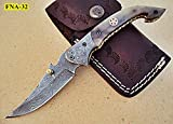FNA-32 Custom Handmade Damascus Steel Folding Knife - Beautiful Camel Bone Handle with Damascus Steel Bolsters. Knife can vary slightly