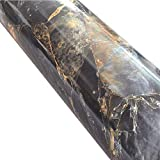 Brown Marble Adhesive Paper Gloss Granite Look Vinyl Wrap Kitchen Countertop Peel Stick Wallpaper Decal15inch by 78inch
