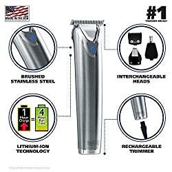 Wahl Clipper Stainless Steel Lithium Ion Plus Beard Trimmers for Men, Hair Clippers and Shavers, Nose Ear Trimmers, Rechargeable All in One Men's Grooming Kit, by the Brand used by Professionals #9818  Image 1