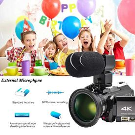 Video-Camera-4K-Camcorder-ZOHULU-WiFi-Ultra-HD-Vlog-Camera-for-YouTube-31-IPS-Screen-30X-Digital-Zoom-Night-Vision-Video-Recorder-with-Microphone-Wide-Lens-Lens-Hood-32GB-SD-Card-2-Batteries