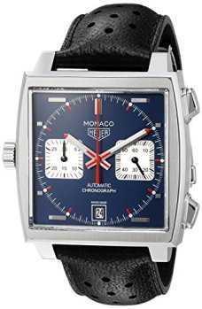 TAG Heuer Men's 'Monaco' Swiss Automatic Stainless Steel and Leather Dress Watch, Color:Black (Model: CAW211P.FC6356)
