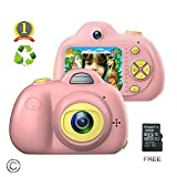 Kids Camera for girls or boys - anti-drop kid digital camera with Soft Silicone Shell and 8 Mega pixel Dual lens 2.0 inch HD screen with Mic, great gift for 4-8 Year Old Girls (32G TF card includ)