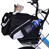 LEMKA Pet Carrier Bicycle Basket Bag Pet Carrier/Booster Backpack for Dogs and Cats with Big Side Pockets(15' L x 10' W x 10' H, Black)