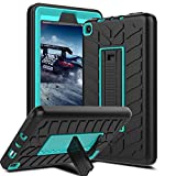 Venoro Case for All-New Amazon Fire 7 Tablet, Shockproof Armor Defender Protective Case Cover with Kickstand for Amazon Kindle Fire 7 2017 (Black/Blue - A)