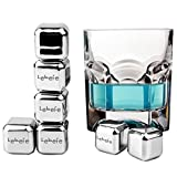 Lebefe Reusable Wine Whisky Chilling Stones Stainless Steel Chiller Cubes with Freezing Storage box and Professional Tongs Set of 9