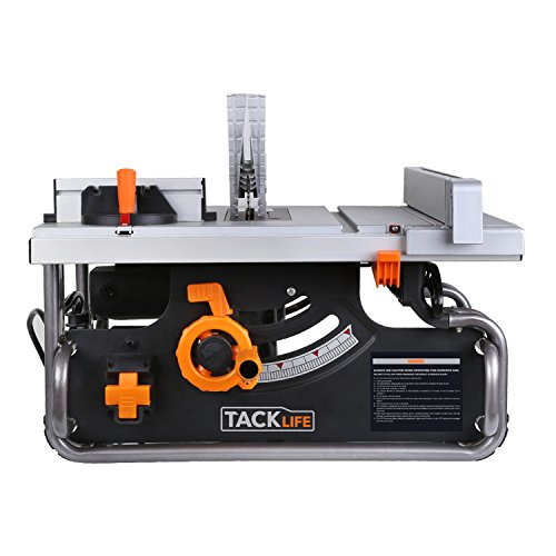 Table Saw, 10inch Saw with Adjustable Cutting Angle & Depth, 15Amp 4800RPM, 40 X 20 inch Max Extendable Work Table, Double Metal Tube Base, Extra Carbon Brush - Tacklife PTSG1A
