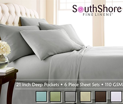 Southshore Fine Linens Extra Deep Pocket Sheet Set, Queen, 6 Piece, Steel Gray