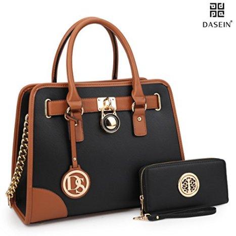 b8f5d74298 Dasein Women s Designer Handbags Padlock Belted Satchel Bags Top ...