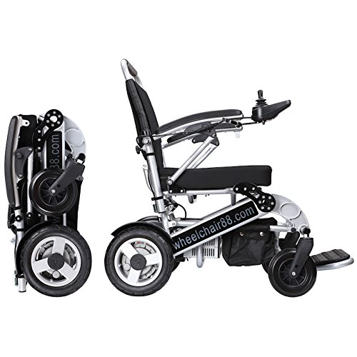Foldawheel PW-1000XL Power Chair (2 years global warranty) weighs just 57 lbs with battery - Opens & folds in 2 seconds. This electric motorized wheelchair comes with a thick durable travel bag.