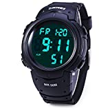Men's Digital Sports Watch LED Screen Large Face Military Watches and Waterproof Casual Luminous Stopwatch Alarm Simple Army Watch (Black)