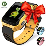 OLTEC 【2019 Update】 Smart Watch for Kids - Smart Watches for Boys Smartwatch GPS Tracker Watch Wrist Android Mobile Camera Cell Phone Best Gift for Girls Children boy Pink Blue Yellow (Yellow)