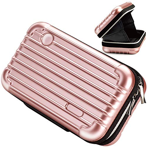 U5 Beauty Makeup Overnight Travel Carrying Cosmetic Toiletry Train Hard Bags Handbag Cases Organizer with Zipper and Inner Pocket Water Resistant/Crashproof/Shockproof for Women (Rose Gold)