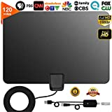 TV Antenna, [2019 Latest] Indoor Digital HDTV Amplified Television Antenna Freeview 4K 1080P HD VHF UHF for Local Channels 120 Miles Range with Signal Amplifier Support All television-13ft Coax Cable