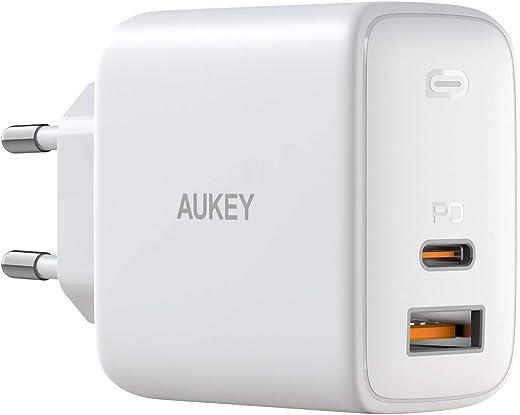 AUKEY Omnia USB C Chargeur Secteur USB 65W avec GaNFast Tech & Détection Dynamique, Chargeur Mural avec USB C Power Delivery 3.0 pour 13''MacBook Pro, iPad Pro, iPhone Se, Google Pixel 4XL, Samsung