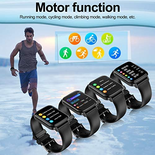 2020 CEGAR Fitness Tracker, Smart Watch with Heart Rate, Ip68 Waterproof Bluetooth Smartwatch for Android iOS Phone, Sleep Tracking Calorie Counter,Pedometer for Women Men (Black) 5