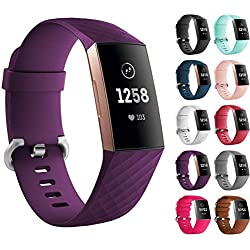 "Shorex for Fitbit Charge 3 Bands, Charge 3 Band Replacement Sports Accessory Wristband for Fitbit Charge 3 in Small & Large, 12 Colours (Purple, Large (6.7"" -8.1""))"