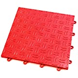 IncStores Diamond Grid-Loc Garage Flooring Snap Together Mat Drainage Tiles (12 Tile Pack - Victory Red)