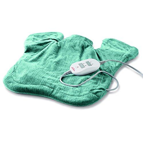 Sunbeam Heating & Massage Pad for Neck & Shoulder Pain Relief | XL Renue, 2 Heat & 2 Massage Settings with Auto-Shutoff | Jade, 25-Inch x 25-Inch