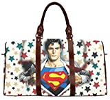 Female Travel Bags Carry on Luggage bags Women Duffel Bag Travel Tote Weekend Bag with Superman Pattern-Large