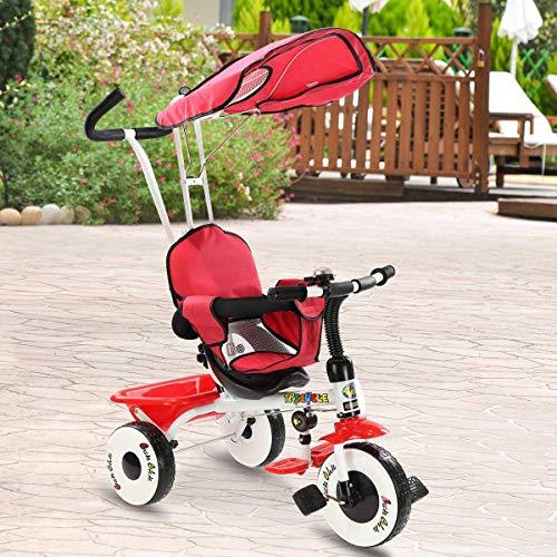 Costzon Kids Trike, 4-in-1 Kids Steer Tricycle Stroller Bike w/Canopy Basket (Single Tricycle, Red)