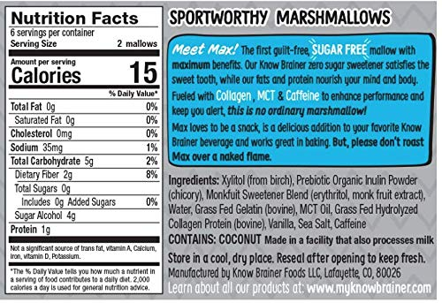 Know Brainer Max Mallow Lightning Vanilla | Guilt-Free & Zero Sugar Marshmallow - Low Carb, Gluten Free & Ketogenic | Marshmallow Fueled with Collagen, MCT Oil & caffeine| Pack of 3 (9.9oz) 3