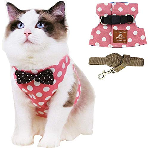 ANIAC Pet Escape Proof Harness and Leash Set with Bow Knot Padded Cat Vest Adjustable Walking Jackets Costume Accessories for Kitten Puppy and Small Dogs 1