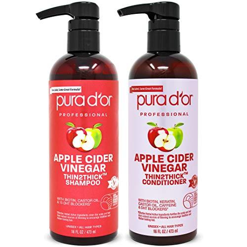 PURA D'OR Apple Cider Vinegar Thin2Thick Set Shampoo Conditioner for Regrowth, Hair Loss, Clarifying, Detox Biotin, Keratin, Caffeine, Castor Oil, All Hair Type, Men/Women, Packaging varies
