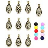 10 Pcs Antique Brass Diffuser Locket Aromatherapy Essential Oil Bangle Cage Lockets for DIY Jewelry Making