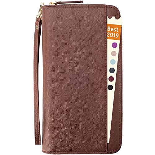 Travel Document Organizer - RFID Passport Wallet Case Family Holder Id Wristlet (Brown)