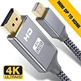 Capshi Mini DisplayPort to HDMI Cable - 6Ft Thunderbolt to HDTV Cord Mini DP to HDMI Chord 4K MiniDP to HDMI Wires Nylon Braided 1080P Compatible Mac Air/Pro, iMac Surface Pro/Dock, Monitor, Projector