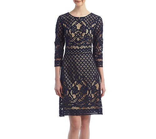51IFN%2BytjtL Decorative lace Bell sleeve 3/4 sleeve scoop-neck short purple dress