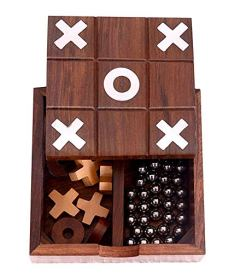 "Ortus Arts Noughts and Crosses Tic Tac Toe Solitaire 2-in-1 Travel Board Game (Brown) Traditional Challenging Board Game for Kids and Adults Best Gift, Size - 5"" x 5"" x 2"" ""Made in India"""