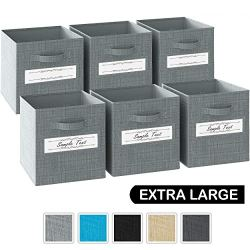 13x13x13 Large Storage Cubes – Set of 6 Storage Bins |Features Label Window 2 Handles | Cube Storage Bins | Foldable Closet Organizers and Storage | Fabric Storage Box for Home, Office (Grey)