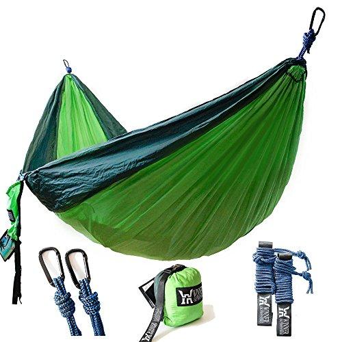 Winner Outfitters Double Camping Hammock - Lightweight Nylon Portable Hammock, Best Parachute Double Hammock For Backpacking, Camping, Travel, Beach, Yard. 118'(L) x 78'(W), Dark Green/Green Color
