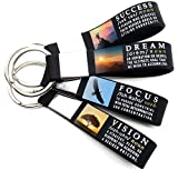 (4-Pack) Success, Focus, Dream, Vision - Motivational Quote Keychains - Professional Corporate Executive Business Quote Office Gifts for Students Men Women Coworkers Employees