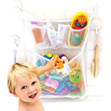 Bath Toy Organizer -The Original Tub Cubby - Large 14x20' Quick Dry Bathtub Mesh Net - Massive Baby Toy Storage Bin + 3 Soap Pockets - New 3M Stickers and 4 Suction Hooks
