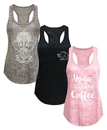 Tough Cookie's Women's Burnout Elephant Lotus Small Yoga Coffee Tank Top 3 Pack (Large - LF, Black/Blush Pink/Heather Grey)