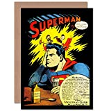 Wee Blue Coo New Vintage Comic Book Headache Superman Advert New Blank Greetings Card CP1395