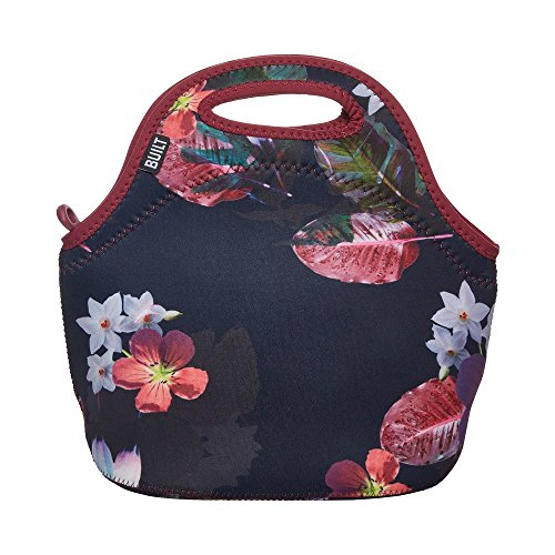 BUILT 5227640 Gourmet Getaway Soft Neoprene Lunch Tote Bag - Lightweight, Insulated and Reusable, one size, Midnight Botanical