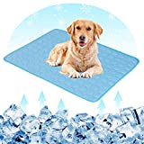 Hamkaw Dog Cooling Mat Extra Large Pet Cats Dogs Cooling Pad with 3 Layers - Help Your Pet Stay Cool - Non Toxic Ice Silk Mat Sleep Cushion for Kennel Sofa Bed Floor Indoor Outdoor Blue