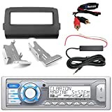 Clarion M205 Marine Single DIN Stereo, Bluetooth Adapter, Enrock Harley Dash Kit, Hide Away Antenna Booster Kit (Select 2014-Up Harley Davidson)