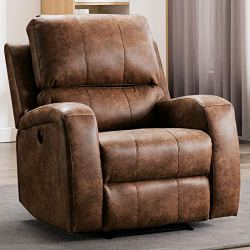 ANJ Power Electric Bonded PU Leather Recliner Chair with USB Charge Port, Vintage Home Theater Seating,Classic Single Sofa Seat-Nut Brown