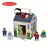 Melissa & Doug Take-Along Wooden Doorbell Dollhouse (Doorbell Sounds, Keys, 4 Poseable Wooden Dolls, 9' H x 6.8' W x 6.8' L)