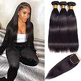 Qi Ying Brazilian Virgin Hair Straight Bundles With Closure Double Weft Human Hair Bundles With Closure 9A Mink Brazilian Hair With Closure Free Part(20/22/24/+18 Inch)